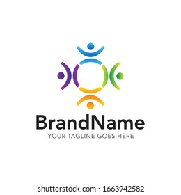 human unity team logo icon vector template
