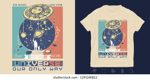 Human and universe. Print for t-shirts and another, trendy apparel design. Symbol solar system, science, religion, astrology, astronomy. Boundless Universe, planets and stars