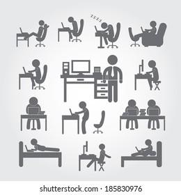 human using computer symbol