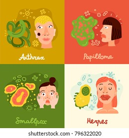 Human viruses concept icons set with smallpox and papilloma symbols flat isolated vector illustration