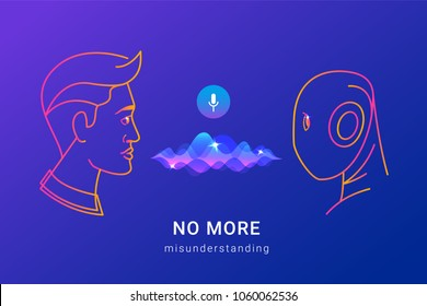 Human voice recognition and smart assistance concept gradient line vector illustration of people using voice assistant and ai without missunderstanding