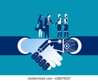Human vs robot shake hand. Concept business automation illustration. Vector robot flat.