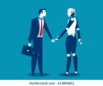 Human vs robot,Businessman standing with robot. Concept business automation future illustration. Vector cartoon character and abstract