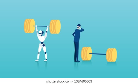 Human vs robots concept. Vector of a businessman standing next to weights unable to perform a task vs a capable robot