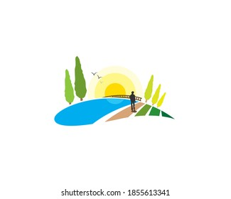 human watching country side mountain landsacape view with meadow land ground pine trees river lake birds bridge and sunset or sunrise
