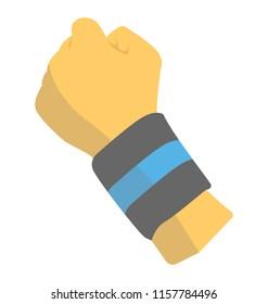 Human wrist wearing sweatband or protective sports bandage