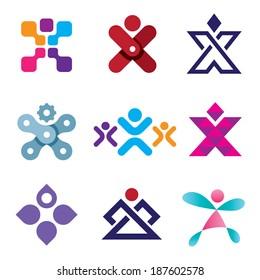 Human X shape latter creativity design logo icon set