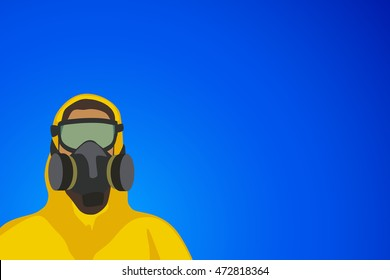 human in yellow suit on blue