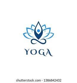 Human Yoga With Lotus Logo Design Template.