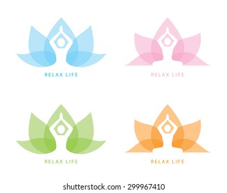 Human yoga shape in abstract lotus symbol. Vector illustration. Relax concept, Logo and icon template design