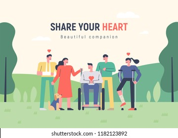 A humane and heartwarming appearance among companion with disabilities. Advertising concept template flat design style vector graphic illustration