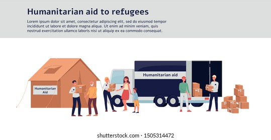 Humanitarian aid to refugees - charity donation camp tent and truck with cardboard boxes, cartoon volunteers giving help to poor people. Isolated flat vector illustration.