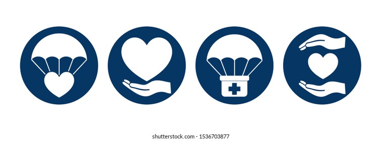 Humanitarian Aid Round Isolated Icon Set