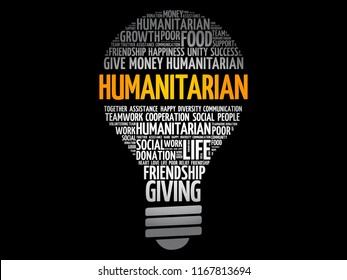 Humanitarian bulb word cloud collage, social concept background
