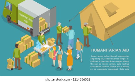 Humanitarian help and aid for people poster with text sample vector. Truck car and volunteers giving water beverages and baked bread for poor refugee