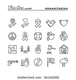 Humanitarian, peace, justice, human rights and more, thin line icons set, vector illustration