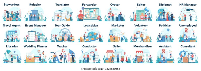 Humanitarian profession set. Business and social profession. Business, retail, politics system and entertainment. Stewardess, teacher, marketer, diplomat. Isolated flat vector illustration
