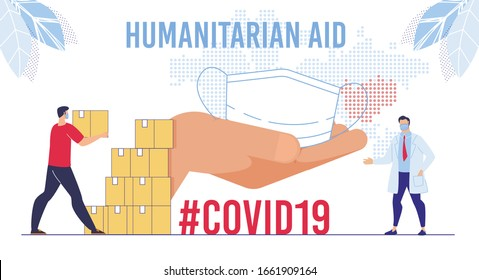 Humanitarian Support, Goodwill Mission in Suffering from Coronavirus Epidemic Country, Intentional Help, Supplying Masks for China Concept. Worker Unloading, Carrying Boxes Flat Vector Illustration