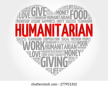 Humanitarian word cloud, heart concept