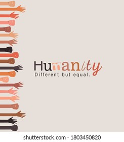 humanity different but equal and diversity open and fists hands up design, people multiethnic race and community theme Vector illustration