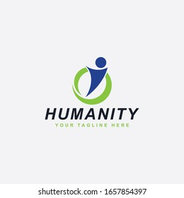 Humanity logo design. Teamwork abstract symbol. People care full color vector icons.
