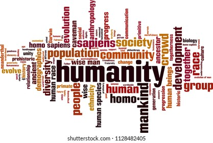 Humanity word cloud concept. Vector illustration