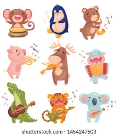 Humanized animals with musical instruments. Vector illustration on white background.