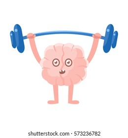Humanized Brain Doing Heavy Weight Lifting Exercise In Gym , Intellect Human Organ Cartoon Character Emoji Icon