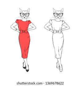 Humanized cat woman hipster dressed up in classy red dress and glasses. Hand drawn vector illustration. Furry art image. Anthropomorphic animal.