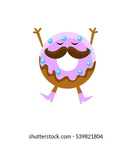 Humanized Doughnut With Violet Glazing And Moustache Cartoon Character With Arms And Legs