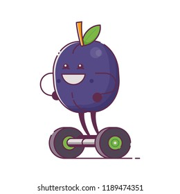 Humanized fruit character on hoverboard icon. Quirky cartoon plum riding self-balancing gyro scooter. Smiling vegan mascot ride electric scooter.