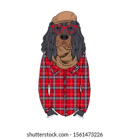 Humanized Gordon Setter breed dog dressed up in hipster city outfits. Design for dogs lovers. Fashion anthropomorphic doggy illustration. Animal wear plaid shirt, glasses, hat, scarf. Hand drawn