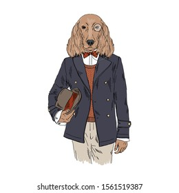 Humanized Irish Setter breed dog dressed up in vintage outfits. Design for dogs lovers. Fashion anthropomorphic doggy illustration. Animal wear coat, tie bow, monocle, bowler hat. Hand drawn vector.