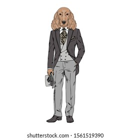 Humanized Irish Setter breed dog dressed up in vintage outfits. Design for dogs lovers. Fashion anthropomorphic doggy illustration. Animal wear suit, tie, bowler hat. Hand drawn vector.