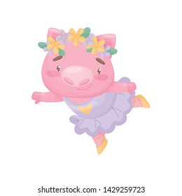 Humanized pig in a ballerina lilac dress. Vector illustration on white background.