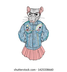 Humanized rat girl hipster dressed up in 90's retro jeans style. Hand drawn vector illustration. Furry art image. Anthropomorphic animal.
