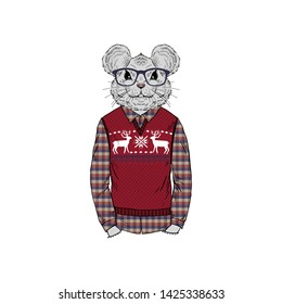 Humanized rat man hipster dressed up in jacquard pullover and plaid shirt. Hand drawn vector illustration. Merry Christmas Furry art image. Anthropomorphic animal.
