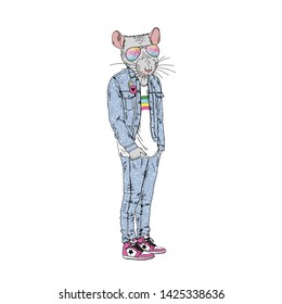 Humanized rat man hipster dressed up in retro 90's jeans style. Hand drawn vector illustration. Furry art image. Anthropomorphic animal.