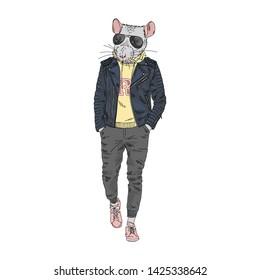 Humanized rat man hipster dressed up in modern urban style. Hand drawn vector illustration. Furry art image. Anthropomorphic animal.
