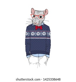Humanized rat man hipster dressed up in jacquard christmas pullover and red tie-bow. Hand drawn vector illustration. Furry art image. Anthropomorphic animal.