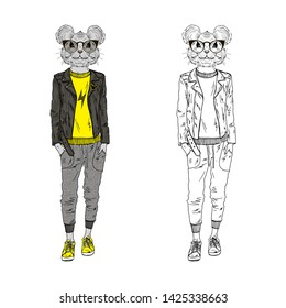 Humanized rat teenager girl hipster dressed up in modern urban style. Hand drawn vector illustration. Furry art image. Anthropomorphic animal.