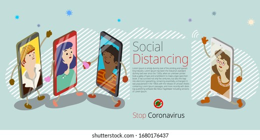 Humanized smartphones, people keep in touch using video call on phones as to avoid being too close to each other in order to prevent corona virus spreading. Flat design vector illustration.