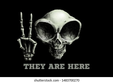 Humanoid alien skull. Vector illustration on black background. RGB. Global colors