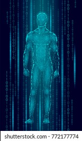Humanoid android man standing cyberspace binary code. Robot artificial intelligence low poly polygonal human body fitness shape. Mind internet network vector abstract blue illustration