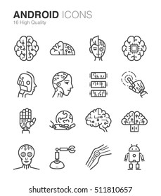 Humanoid, Droid and Artificial Intelligence icons. Included the icons as ai, brain, robot, robotic, machine, digital and more.