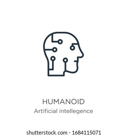 Humanoid icon. Thin linear humanoid outline icon isolated on white background from artificial intellegence and future technology collection. Line vector sign, symbol for web and mobile
