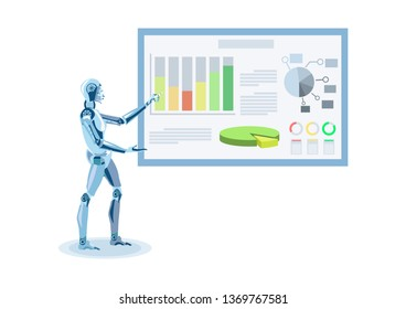 Humanoid Making Presentation Flat Illustration. Cartoon Cyborg Presenting Statistic Report in Diagrams, Charts. Artificial Intelligence Data Processing. Computerization, Human Jobs Substitution