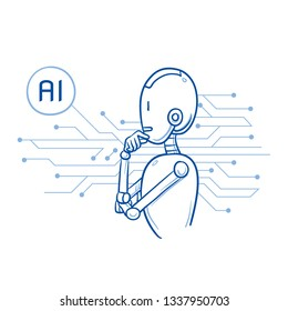 Humanoid robot with arms in thinking pose and AI sign. Artificial intelligence concept. Hand drawn blue line art cartoon vector illustration.