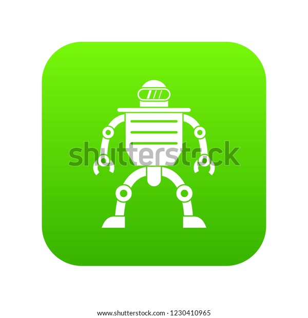 Humanoid robot icon digital green for any design isolated on white vector illustration