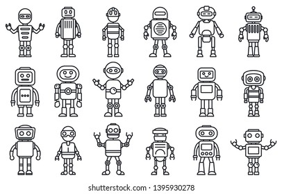 Humanoid robot icons set. Outline set of humanoid robot vector icons for web design isolated on white background